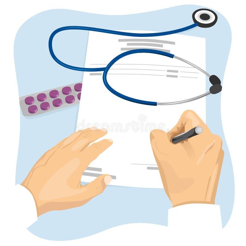 Мужской доктор заполняя в пустом медицинском рецепте иллюстрация вектора