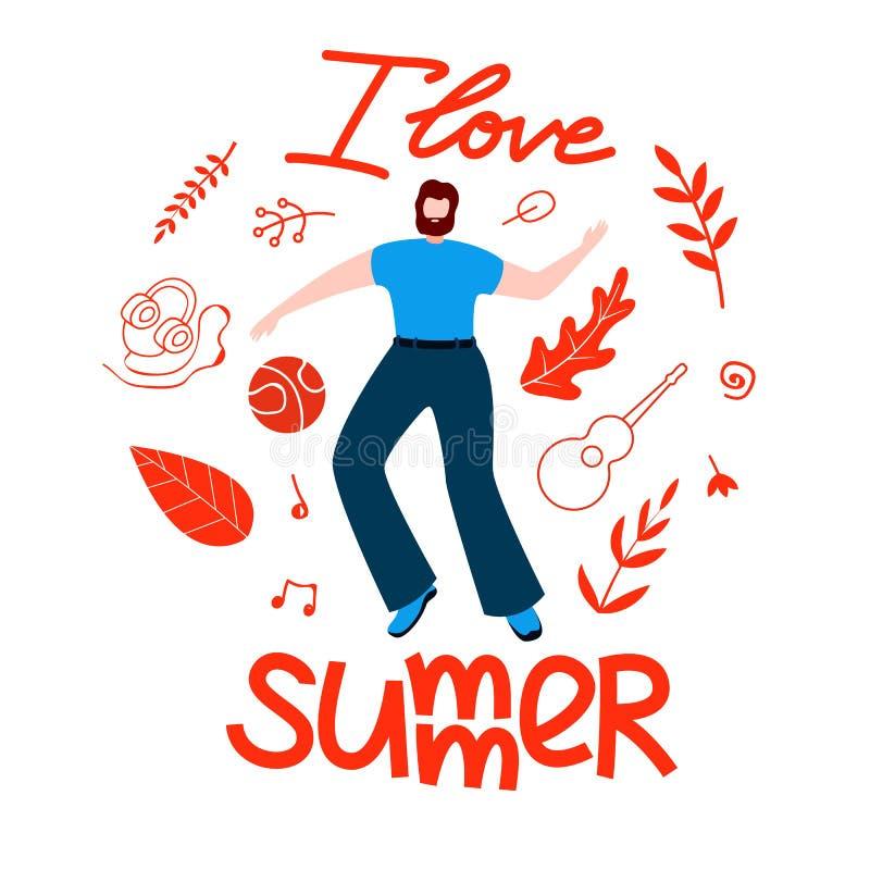 Мужской план на лето, я люблю квартиру мультфильма лета бесплатная иллюстрация