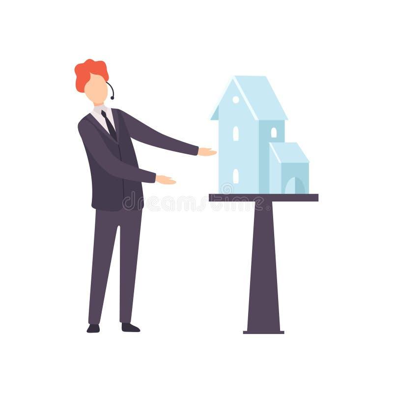 Мужской профессиональный аукционист продавая дом от иллюстрации вектора аукциона бесплатная иллюстрация