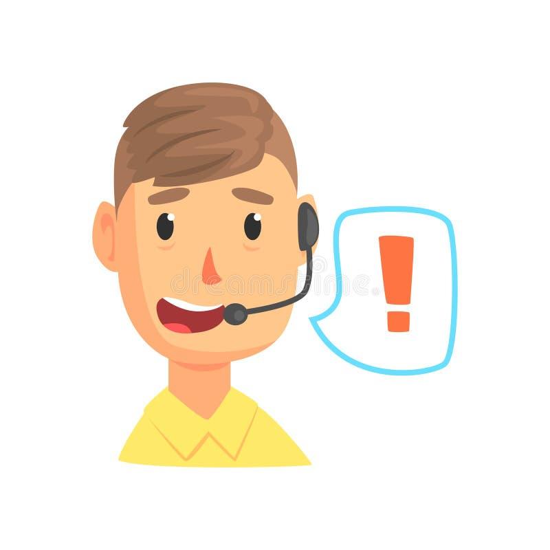 Мужской работник и речь центра телефонного обслуживания клокочут с знаком внимания, онлайн ассистентом вспомогательного обслужива бесплатная иллюстрация