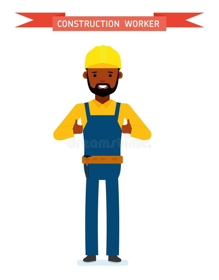 Мужской рабочий-строитель Изолировано против белой предпосылки иллюстрация вектора