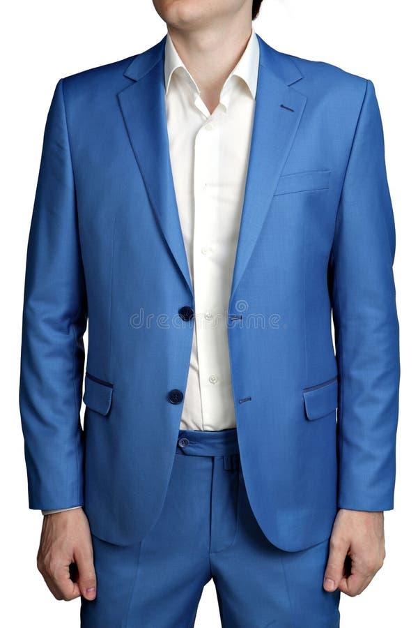 Мужской свет - голубой groom костюма свадьбы, unbuttoned куртка, butto 2 стоковая фотография rf