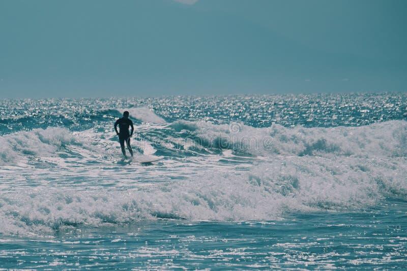 Мужской серфер в океане, концепция предпосылки лета стоковые фото