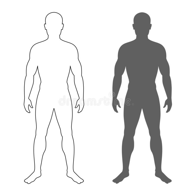 Мужской силуэт и контур иллюстрация штока