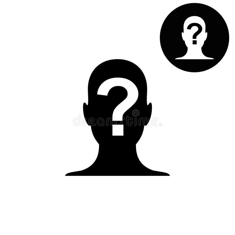 Мужской силуэт профиля со значком дизайна вектора вопросительного знака или логотипы для дела, сети иллюстрация штока