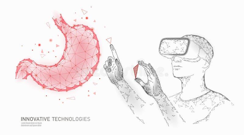 Мужской современный доктор привестись в действие человеческий рак желудка Деятельность лазера помощи виртуальной реальности шлемо иллюстрация штока