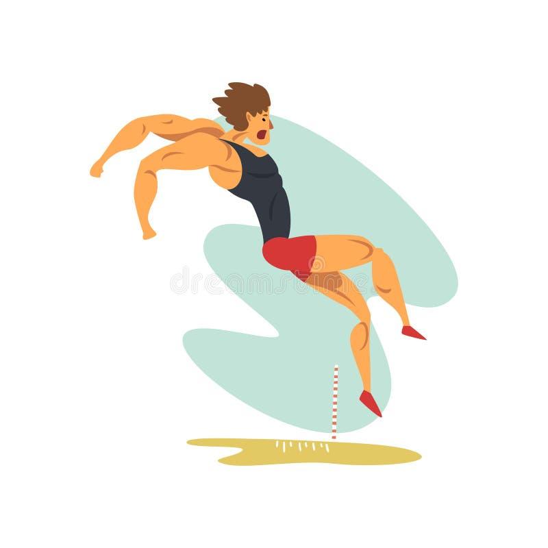 Мужской спортсмен делая большой скачок, профессиональный спортсмена на спортивной иллюстрации вектора конкуренции атлетики чемпио иллюстрация вектора