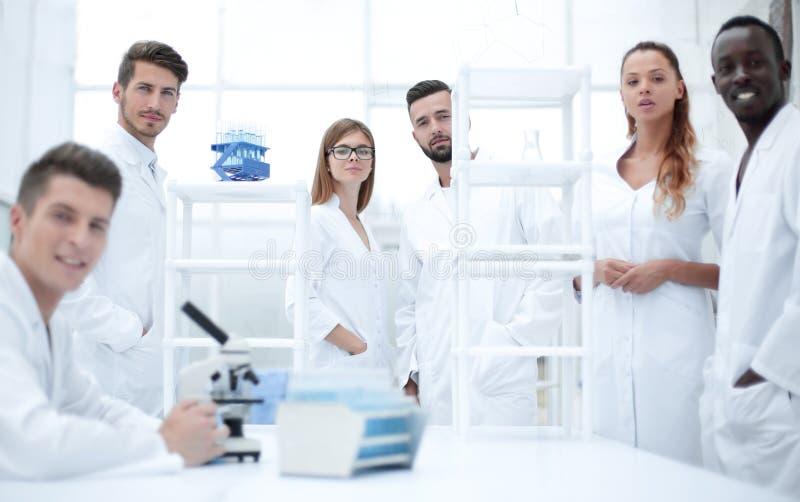 Мужской ученый работая с микроскопом стоковые изображения rf