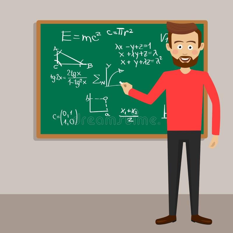 Мужской учитель в классе рядом с классн классным с физическими уровнениями и формулами бесплатная иллюстрация