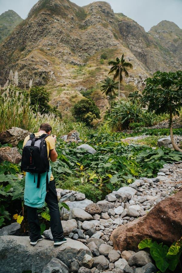 Мужской фотограф в зелёной долине покрытой с заводами лотоса Santo Antao Кабо-Верде стоковое фото rf
