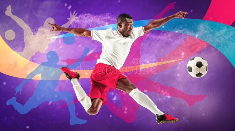 Мужской футболист в действии, творческом красочном коллаже стоковые изображения
