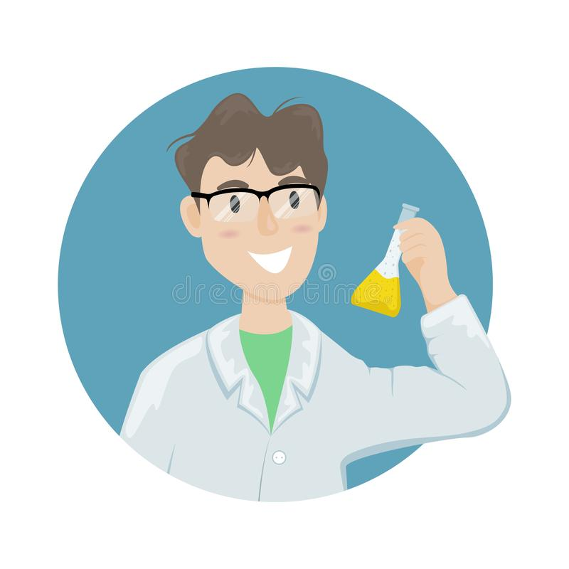 Мужской химик в белом пальто и стеклах со склянкой с химическим веществом в руке Ученый проводя эксперимент иллюстрация штока