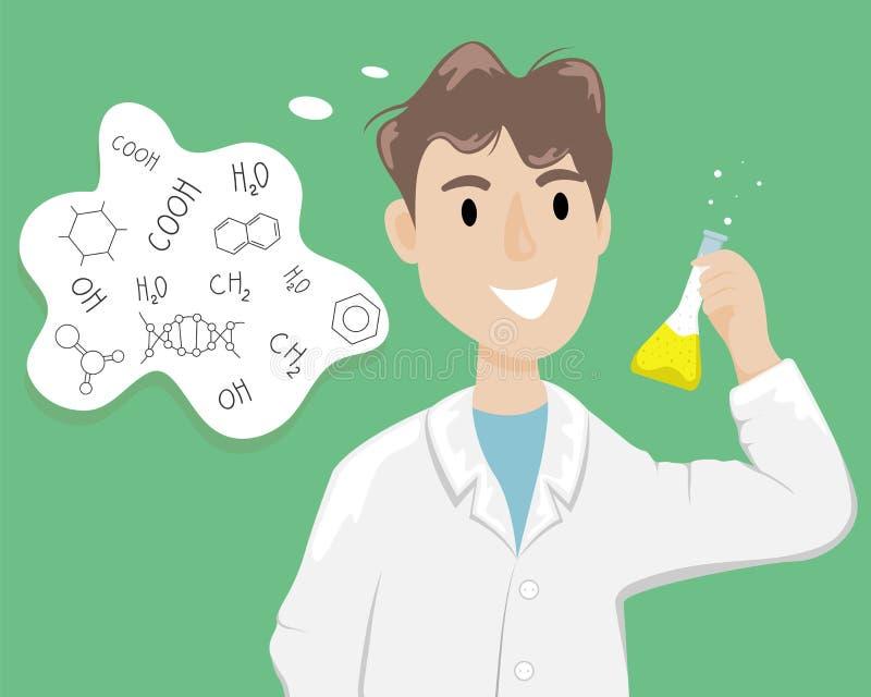 Мужской химик в белом пальто со склянкой с химическим веществом в руке Ученый проводя эксперимент иллюстрация вектора