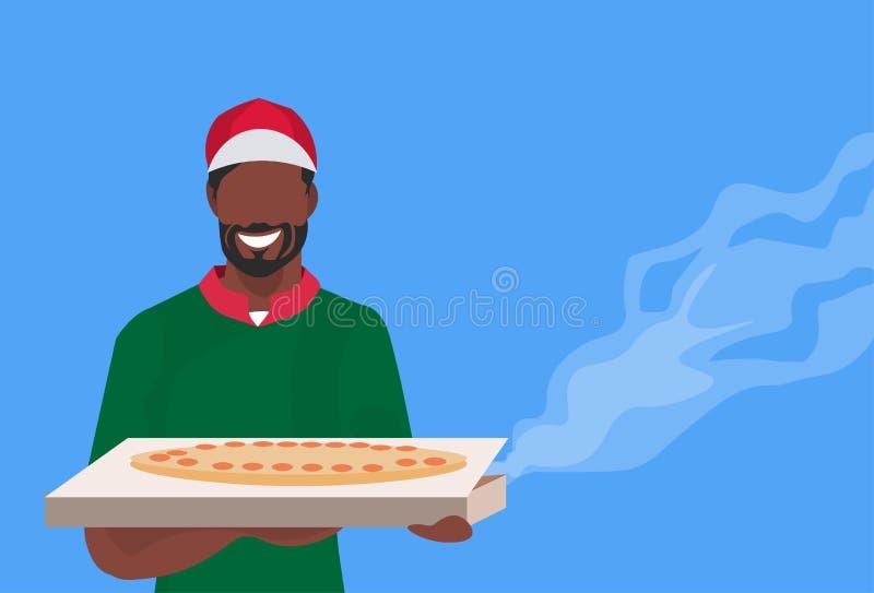 Мужской шеф-повар повара держа коробку с человеком горячей традиционной пиццы Афро-американским в равномерной еде варя ресторан к бесплатная иллюстрация