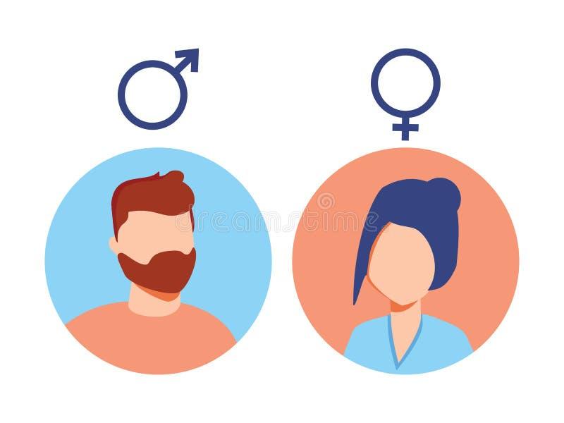 Мужчина вектора и женский комплект значка Воплощение потребителя Знак туалета человека и дамы Символ секса Значок рода Пиктограмм иллюстрация вектора