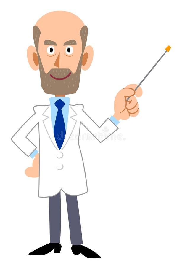 Мужчина в белизне со штангой пункта, бороде иллюстрация штока