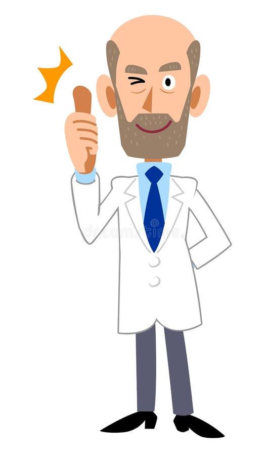 Мужчина в белом пальто thumbing вверх, борода иллюстрация штока