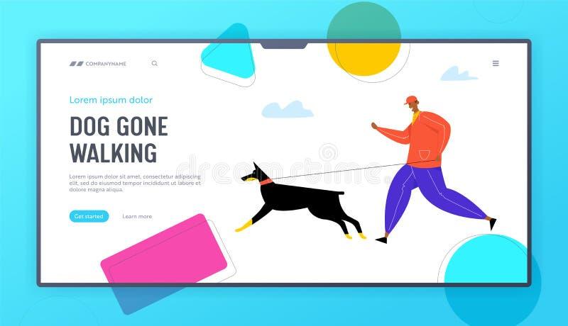 Мужчина, гуляющий с главной страницей веб-сайта Doberman Dog, персонаж, прыгающий с питомцем, утренние упражнения, домашние живот иллюстрация вектора