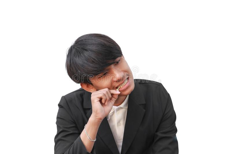 Мужчина его чистые зубы с зубочисткой на белой предпосылке стоковое изображение rf