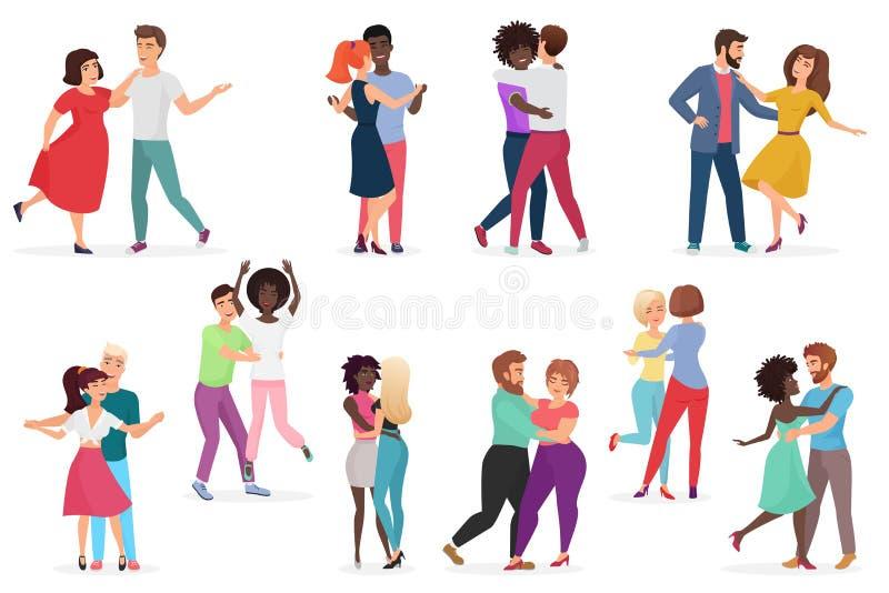 Мужчина и женские пары танцоров Пары людей и женщин выполняя танец в школе, студии Группа в составе молодые счастливые танцы бесплатная иллюстрация