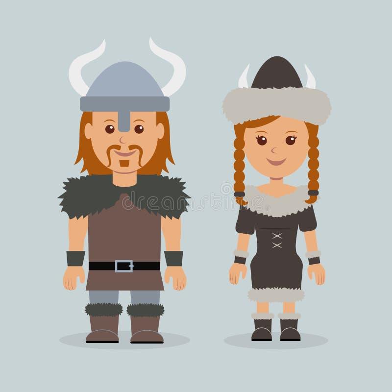 Мужчина и женщина в моряках скандинава роб иллюстрация штока