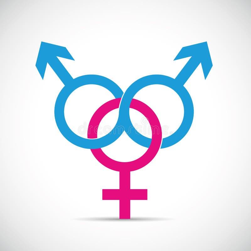 Мужчина отношения и очковтирательства 2 партнера плутовки и один женский символ иллюстрация штока