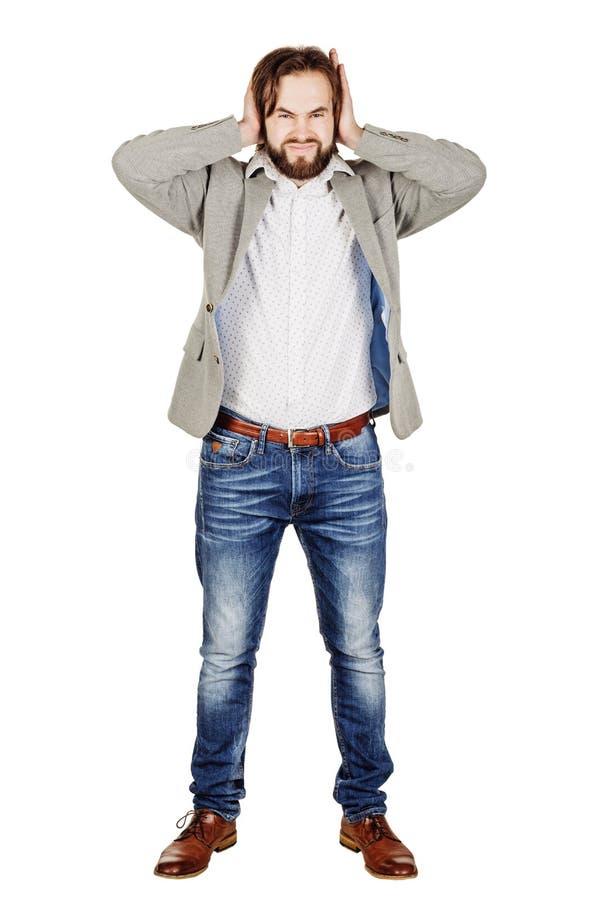 Мужчина покрывая его уши с его рукой эмоции, лицевое expressio стоковое изображение rf