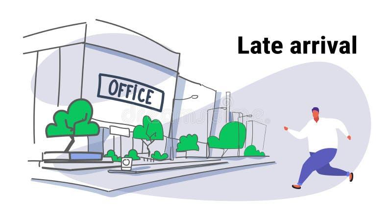 Мужчина полного жирного человека идущий над эскизом городского пейзажа взгляда офисного здания города концепции позднего прибытия бесплатная иллюстрация