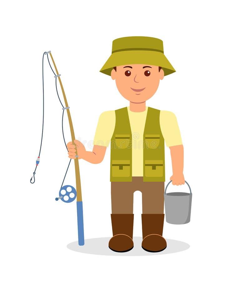 Мужчина с ведром и рыбной ловлей рыболовной удочки Изолированный характер рыболова в форме иллюстрация вектора