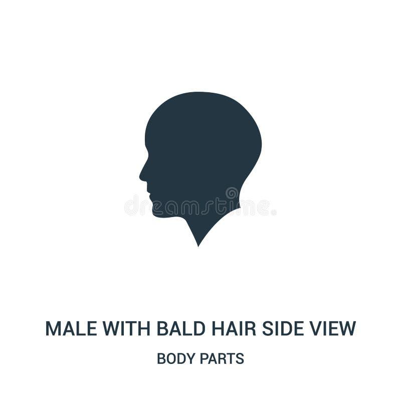 мужчина с лысым вектором значка взгляда со стороны волос от собрания частей тела Тонкая линия мужчина с лысым вектором значка пла иллюстрация вектора