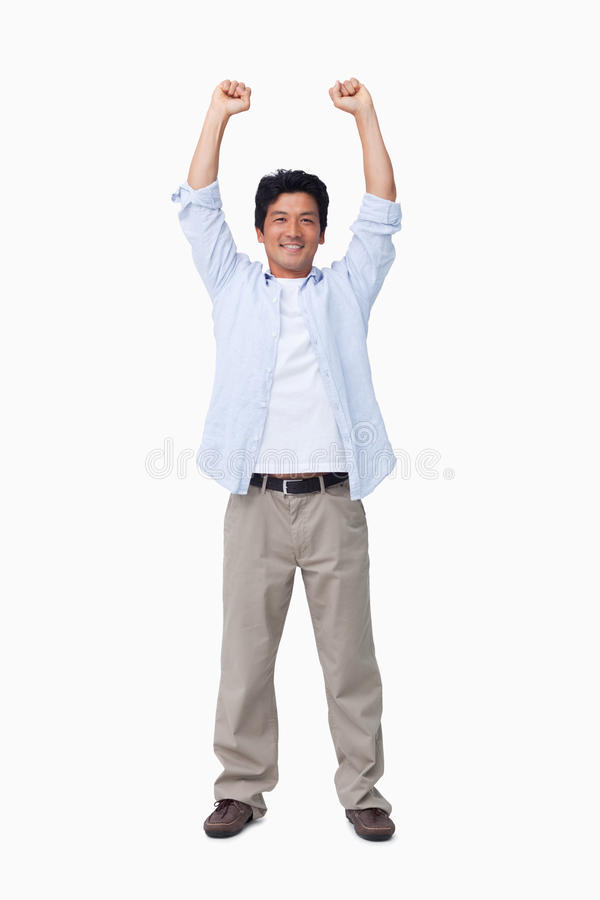 Мужчина с рукоятками вверх Стоковое Фото