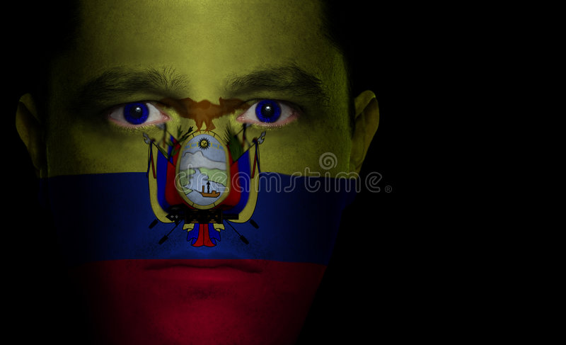 мужчина флага стороны ecuadorian стоковое фото rf