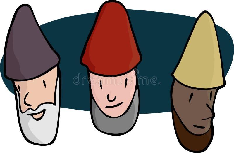 мужчина 3 gnomes бесплатная иллюстрация