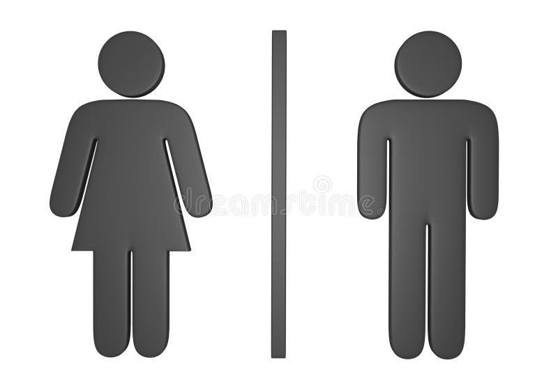 мужчина 3D и женские значки рода используемые для того чтобы отметить общественные уборные иллюстрация штока