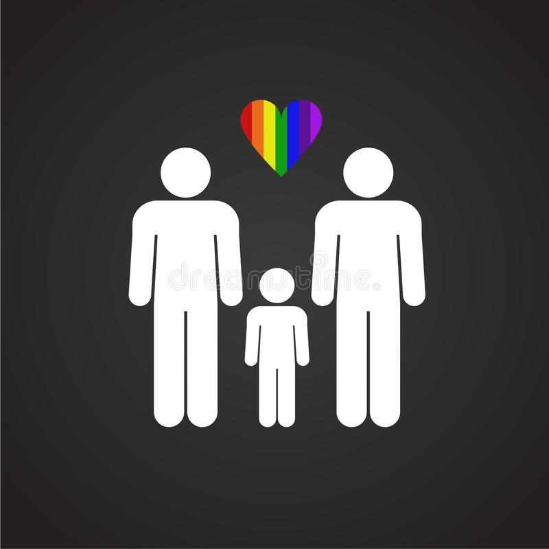 Мужчина LGBT плюс мужская семья на черной предпосылке иллюстрация штока