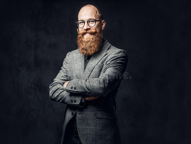 Мужчина Redhead бородатый в костюме стоковая фотография rf