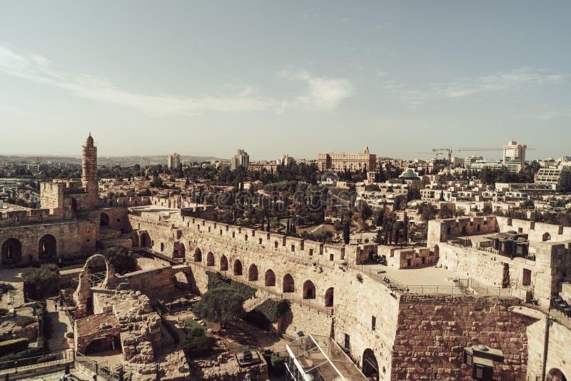 Музей башни Дэвид, город Иерусалима старый Башня Дэвид старая цитадель расположенная около ворот Яффы на входе к стоковые изображения rf