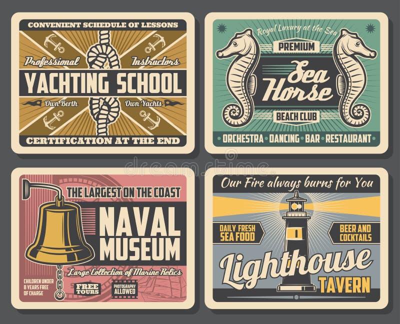 Музей военно-морского флота, маяк, яхт-клуб иллюстрация штока