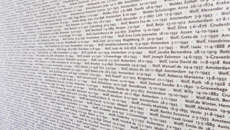 Музей концентрационного лагеря Освенцима - стена с именами жертв 7-ого июля стоковое фото rf