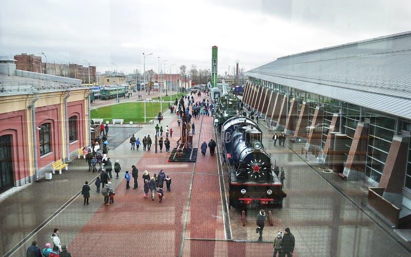 Музей русских железных дорог Самый большой музей железнодорожного оборудования в России, расположенный в Санкт-Петербурге, около  стоковые изображения rf