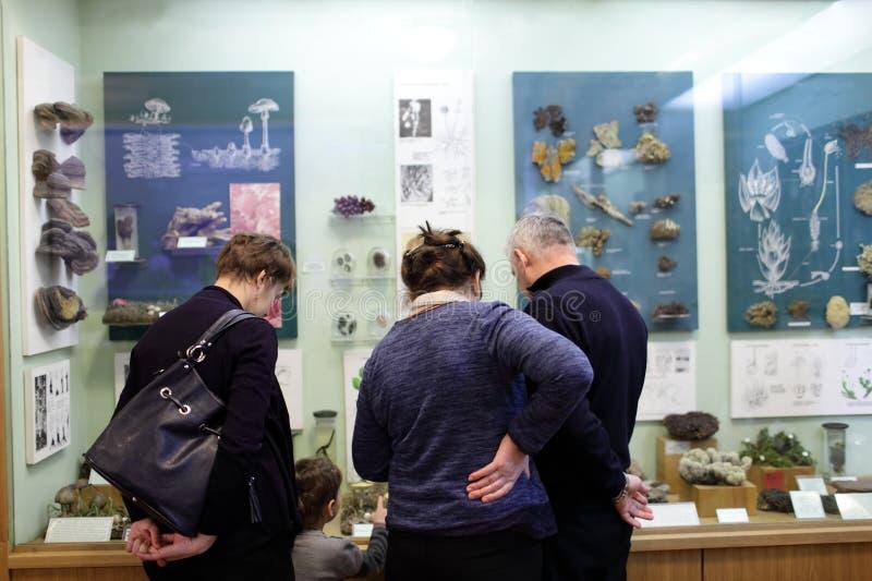 Музей семьи посещая стоковое изображение