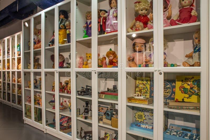 Музей советских игрушек в магазине Москве России центральных детей стоковое фото