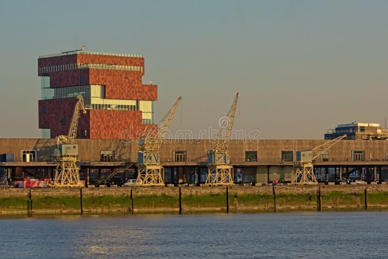 Музей MAS со старыми промышленными кранами во фронте, взгляде с другой стороны реки Шельды в Антверпене стоковые изображения rf