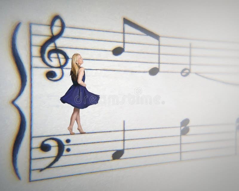 Музыкальная женщина стоковое изображение