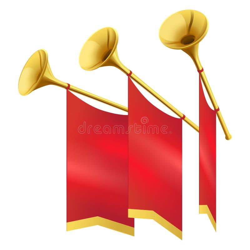 Музыкальная золотая труба 3 украшает эмблемы революции бесплатная иллюстрация