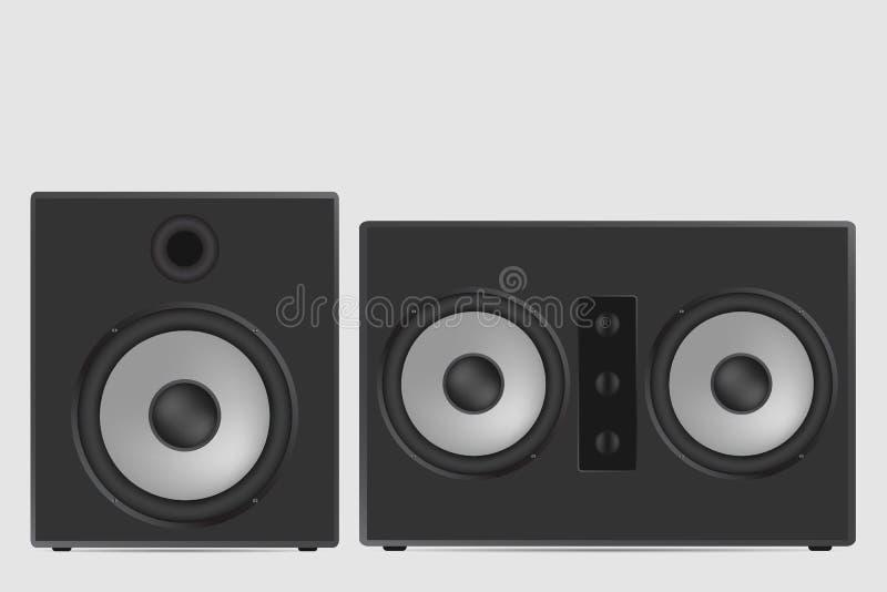 Музыкальная иллюстрация вектора диктора Современное акустическое на белом ба иллюстрация вектора