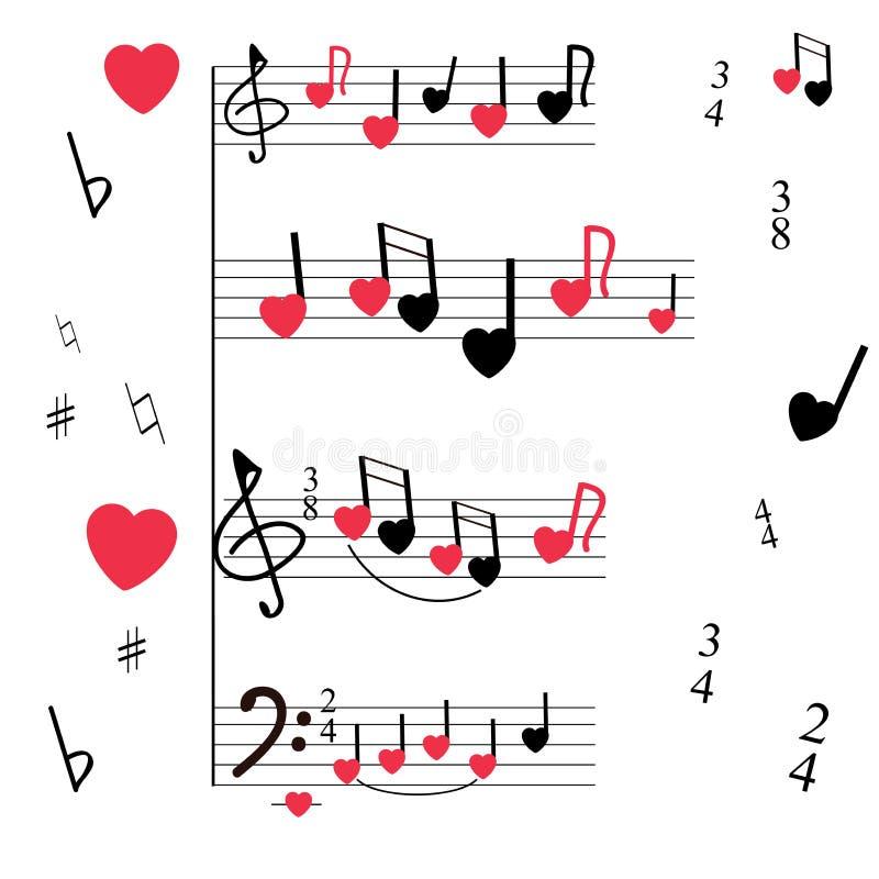 Музыкальная мельница с стилизованными примечаниями, скрипкой и ключами баса, сердцами Музыкальная романтичная предпосылка иллюстрация штока