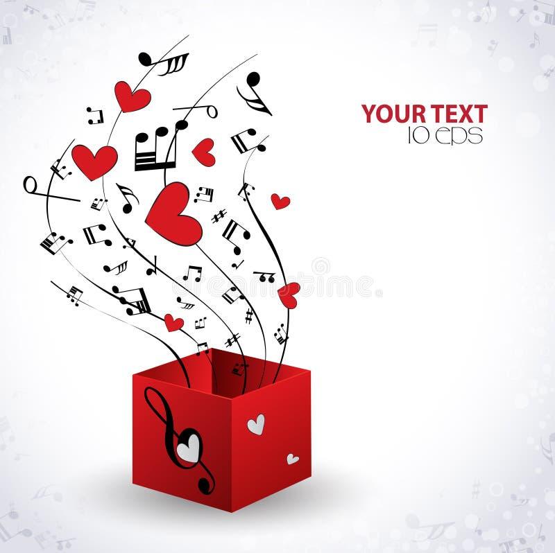 Музыкальная предпосылка с сердцами иллюстрация штока