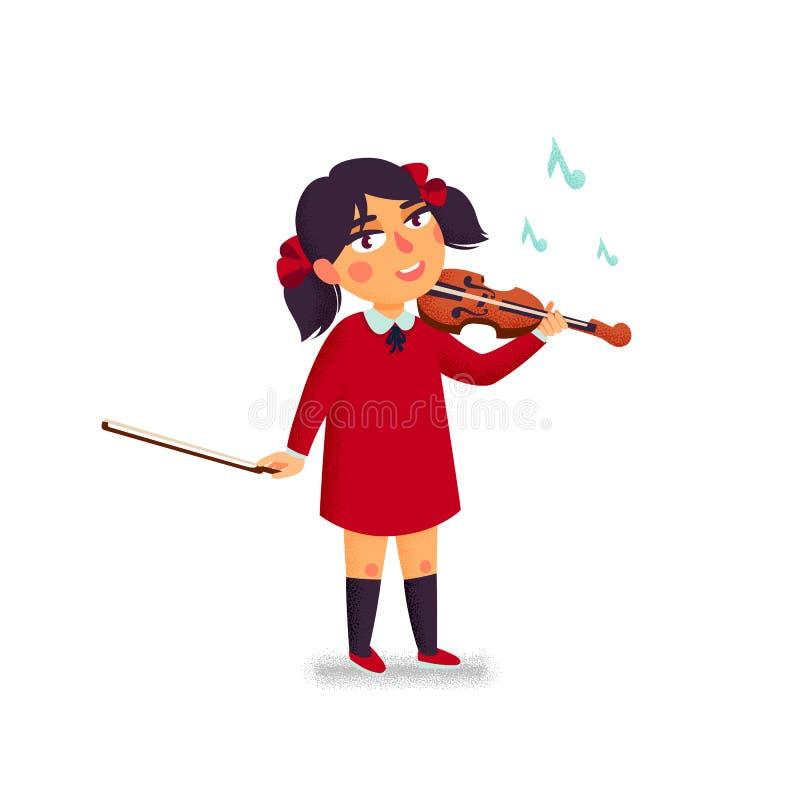 Музыкальная школа Характер мальчика скрипача играя скрипку Дети с музыкальными инструментами Шарж вектора плоский иллюстрация штока