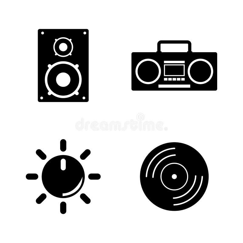 музыкально Простые родственные значки вектора иллюстрация вектора
